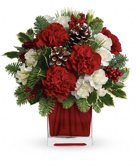 Red carnations and white carnations are beautifully presented in our bright red glass cube