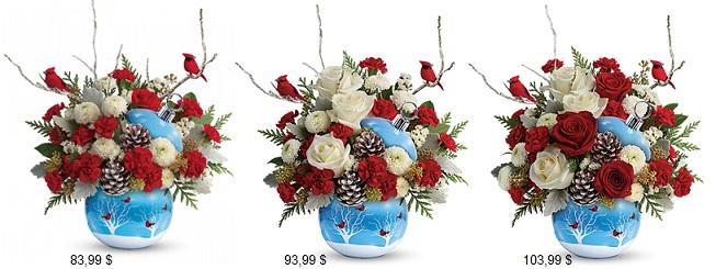 t18X400 Cardinaux ornemant bouquet Teleflora