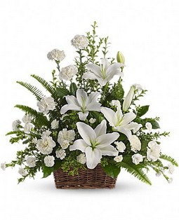 Cupid-107 Peaceful White Lilies Basket T228-1A 72,95$  / 92,95$