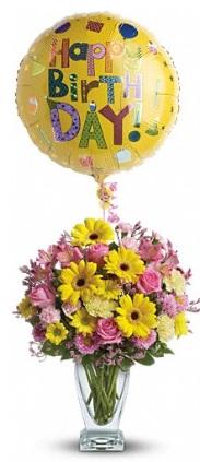 Happy birth day balloon and flower bouquet Cupidon Florist