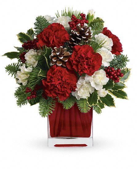 Vase cube oeillet rouge et mini-oeilleut blanc verdure de Noël cocottes