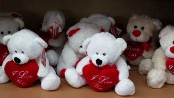 Plush bear wiht I love you on a red heart for your lover  Cupidon Florist
